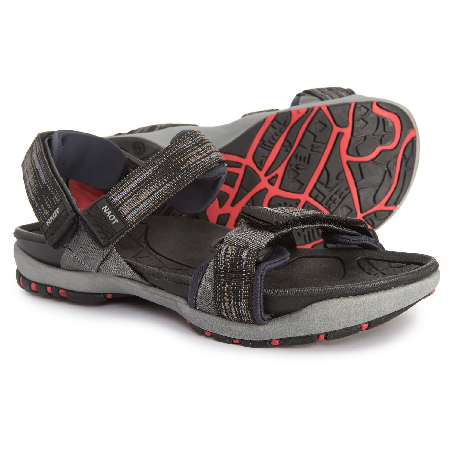 5fe37425aa17 Naot Course River Sandals (For Men) in Black Gray Material ...