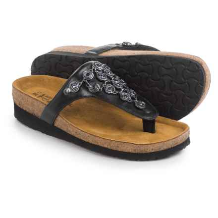 Naot Juneau Leather Sandals (For Women) in Black Madras - Closeouts