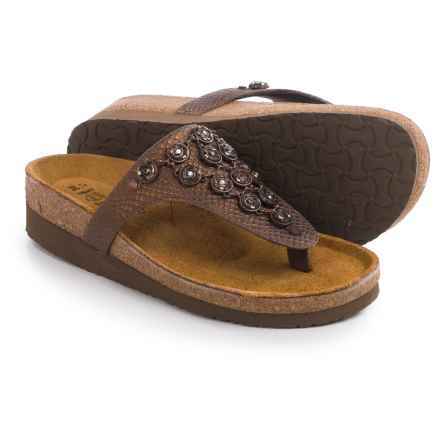 Naot Juneau Leather Sandals (For Women) in Brown Lizard - Closeouts