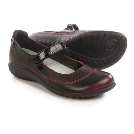 Naot Kirei Mary Jane Shoes - Leather (For Women) in Volcanic Red/Black Crinkle Patent - Closeouts