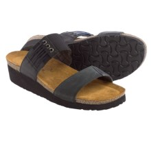 Naot Lena Leather Sandals (For Women) in Black Nubuck - Closeouts