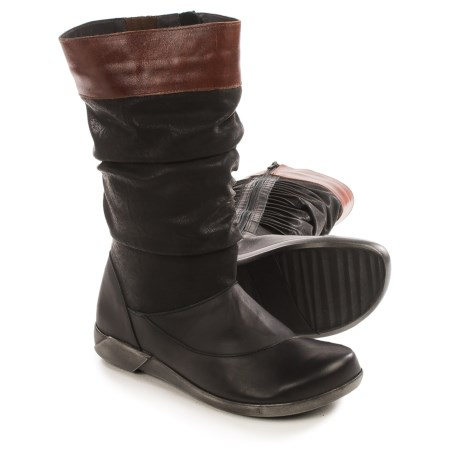 Naot Life Creation Scrunch Boots - Leather (For Women) in Black/Luggage Brown