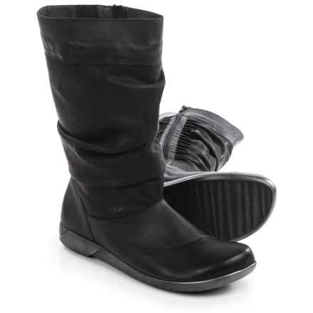 Naot Life Creation Scrunch Boots - Leather (For Women) in Tar Black/Jet Black - Closeouts