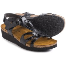 Naot Rachel Leather Sandals (For Women) in Black Patent Leather - Closeouts