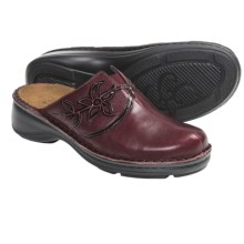 Naot Sage Floral Open-Back Clogs - Leather (For Women) in Merlot Leather/Wine Patent - Closeouts