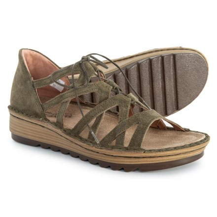 2e14f9eb7958 Naot Yarrow Wedge Sandals - Suede (For Women) in Oily Olive Suede