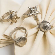 Napa Home & Garden Beachside Napkin Rings - Set of 4 in Fish / Starfish / Shell / Turtle - Closeouts
