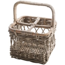 Napa Home & Garden Normandy Rattan 4-Bottle Wine Caddy in Grey