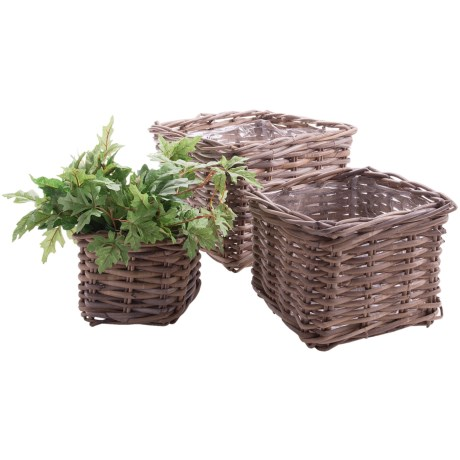 Napa Home and Garden Normandy Rattan Planter Baskets - Set of 3 in Square
