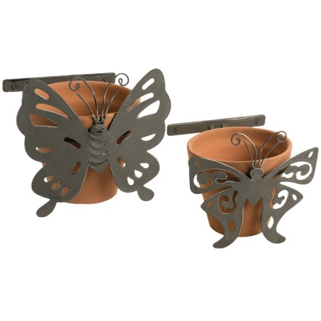 Napa Home and Garden Single Butterfly Wall Flower Pots - Set of 2