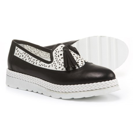 Napoleoni Made in Italy Wingtip Tassel Shoes - Leather (For Women) in Black/White