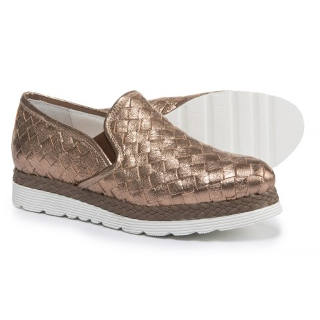 Napoleoni Made in Italy Woven Leather Shoes - Slip-Ons (For Women) in Cracked Rame