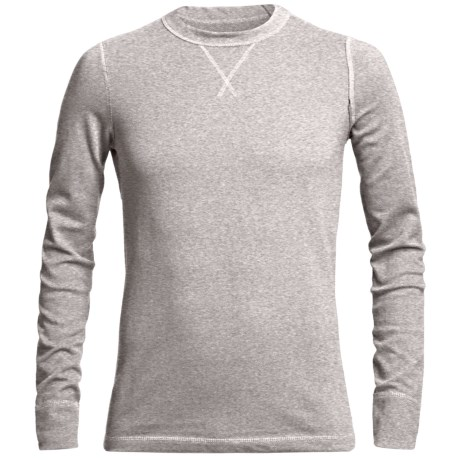 Narragansett Trader Waffled Thermal Cotton Shirt - Long Sleeve (For Men) in Light Heather Grey