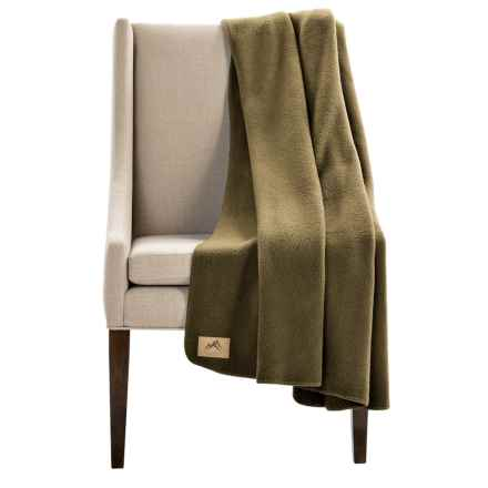 "Narragansett Traders Oversized Fleece Throw Blanket - 60x80"" in Dark Green - Closeouts"