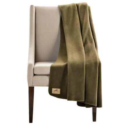 "Narragansett Traders Oversized Fleece Throw Blanket - 60x80"" in Dark Green - Closeouts"