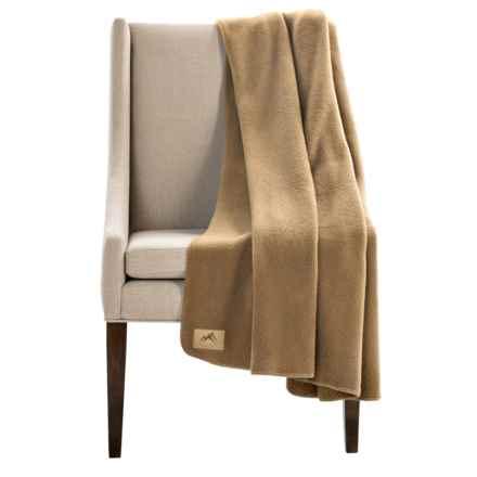 "Narragansett Traders Oversized Fleece Throw Blanket - 60x80"" in Khaki - Closeouts"