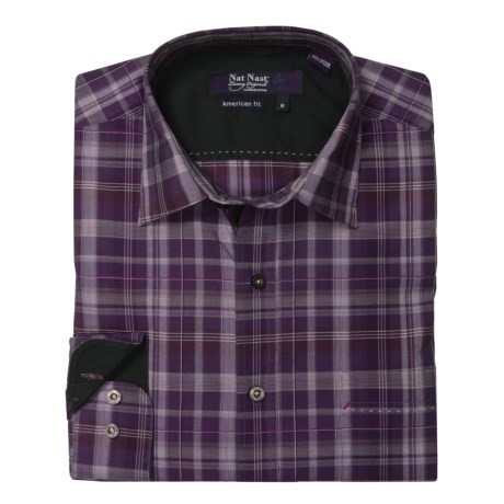 Nat Nast Perfect Plaid Sport Shirt - Cotton, Long Sleeve (For Men) in Eggplant