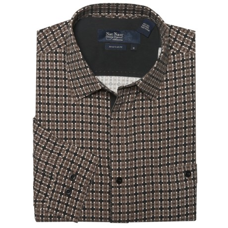 Nat Nast Silk Parker Plaid Sport Shirt - Long Sleeve (For Men) in Chocolate Combo