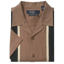 Nat Nast Silk Twill Newport Shirt - Short Sleeve (For Men) in Coffee/Black/Khaki - Closeouts