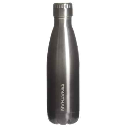 Nathan Chroma Stainless Steel Water Bottle - 17 oz., BPA-Free in Steel/Charcoal - Closeouts