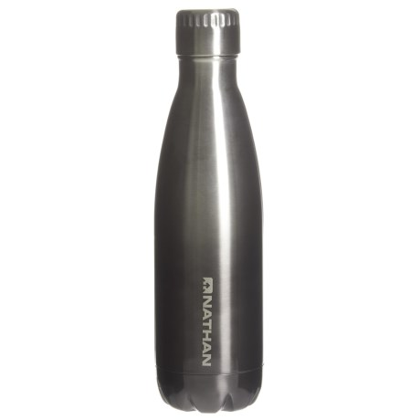 Nathan Chroma Stainless Steel Water Bottle - 17 oz., BPA-Free in Steel/Charcoal