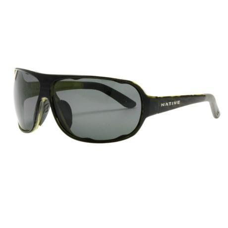Native Eyewear Apres Sunglasses - Polarized, Interchangeable in Black Lime Burst/Grey