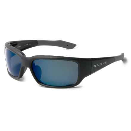 Native Eyewear Bolder Sunglasses - Polarized Reflex Lenses in Matte Black/Blue Reflex - Closeouts