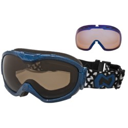 Native Eyewear Boomer Snowsport Goggles - Amber Polarized Lens, Sportflex Non-Polarized Lens in Blue Carbon Fiber/Amber