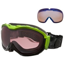 Native Eyewear Boomer Snowsport Goggles - Reflex Polarized Lens, Sportflex Non-Polarized Lens in Iron/Green/Chrome Reflex - Closeouts
