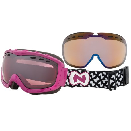 Native Eyewear Kicker Snowsport Goggles - Interchangeable Polarized Reflex Lenses in Pink/Chrome Reflex