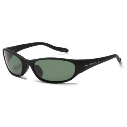 Native Eyewear Ripp Sunglasses - Polarized in Matte Black Asphalt/Green - Closeouts