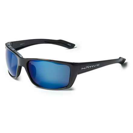 Native Eyewear Wazee Sunglasses - Polarized Reflex Lenses in Gloss Black/Blue Reflex - Closeouts
