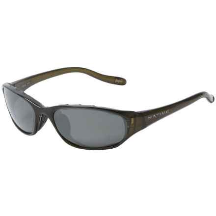 Native Throttle Sport Sunglasses - Polarized in Moss/Silver Reflex - Overstock
