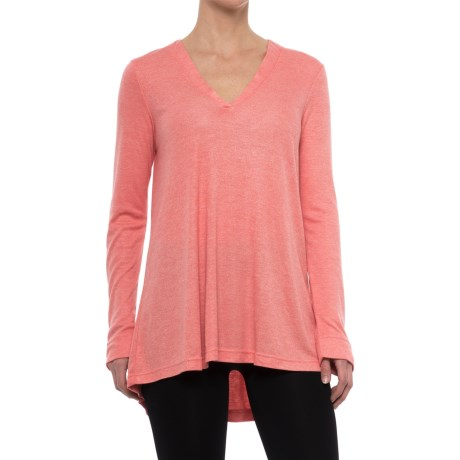 Natori Speckled Interlock Flowy Shirt - Long Sleeve (For Women) in Coral
