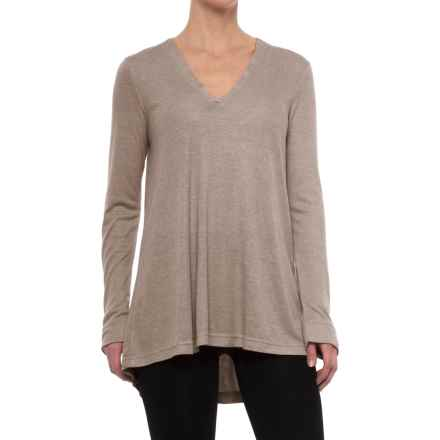 Natori Speckled Interlock Flowy Shirt - Long Sleeve (For Women) in Light Coffee - Closeouts