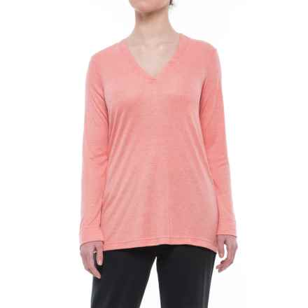 Natori Speckled Interlock Shirt - V-Neck, Long Sleeve (For Women) in Coral - Closeouts