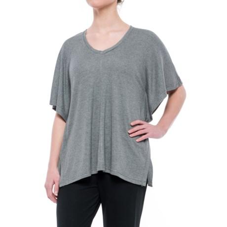 Natori Speckled Interlock Shirt - V-Neck, Short Sleeve (For Women) in Heather Grey
