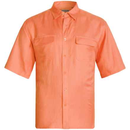 Natural Blue by Visitor Linen Blend Shirt - Short Sleeve (For Men) in Orange - Closeouts