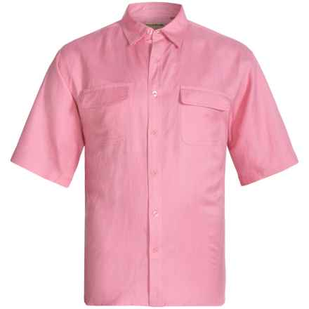 Natural Blue by Visitor Linen Blend Shirt - Short Sleeve (For Men) in Pink - Closeouts
