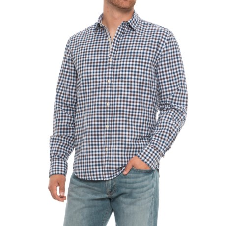Natural Blue Check Print Oxford Shirt - Long Sleeve (For Men) in Black/Indigo