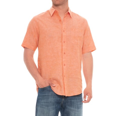 Natural Blue Delave Pocket Shirt - Short Sleeve (For Men) in Creamsicle