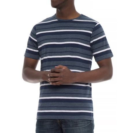 Natural Blue Engineered Striped T-Shirt - Short Sleeve (For Men) in Blue
