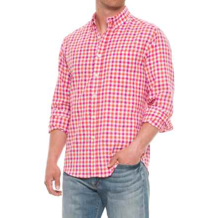 Natural Blue Gingham Printed Shirt - Long Sleeve (For Men) in Multi - Closeouts