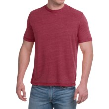 Natural Blue Linen-Blend T-Shirt - Short Sleeve (For Men) in Burgandy - Closeouts