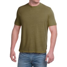 Natural Blue Linen-Blend T-Shirt - Short Sleeve (For Men) in Dark Green - Closeouts