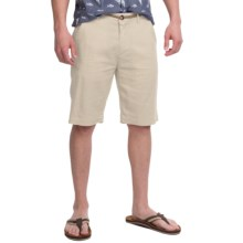 Natural Blue Linen Dress Shorts - Flat Front (For Men) in Natural - Closeouts