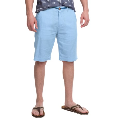 Natural Blue Linen Dress Shorts Flat Front (For Men)