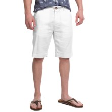 Natural Blue Linen Dress Shorts - Flat Front (For Men) in White - Closeouts