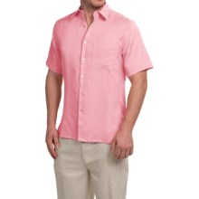 Natural Blue Linen Shirt - Short Sleeve (For Men) in Candypink - Closeouts
