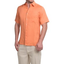 Natural Blue Linen Shirt - Short Sleeve (For Men) in Copper/Tan - Closeouts
